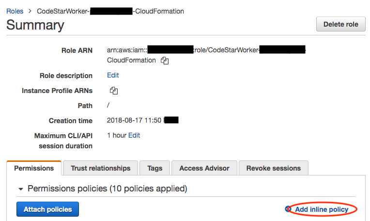 Authorizing AWS CloudFormation Role to perform iam