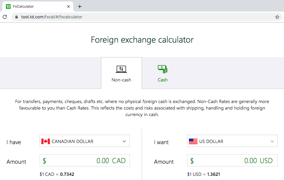 Currency Exchange Rate Calculator by TD Bank