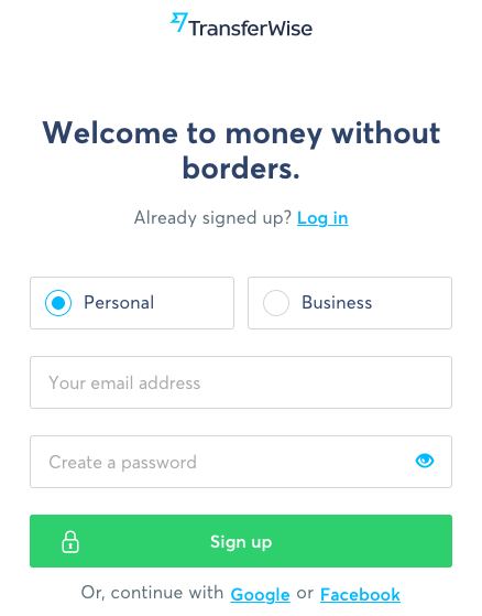 TransferWise Register Form