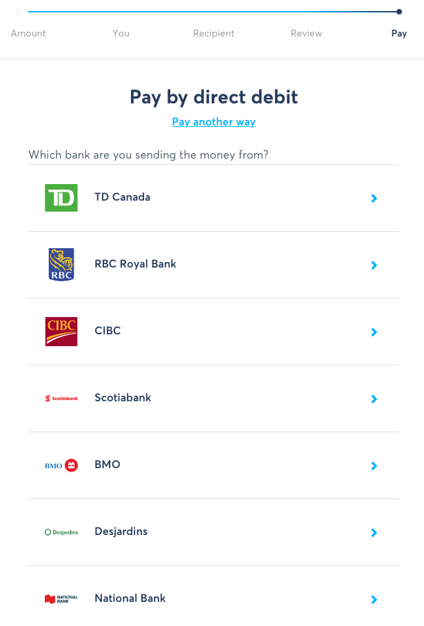 TransferWise Transfer Flow - Direct Debit Bank List