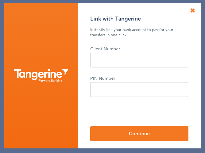 TransferWise Transfer Flow - Direct Debit From Tangerine