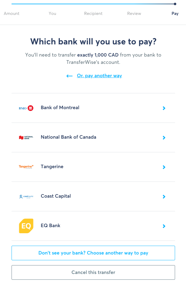 TransferWise Transfer Flow - Online Bill Pay Bank List