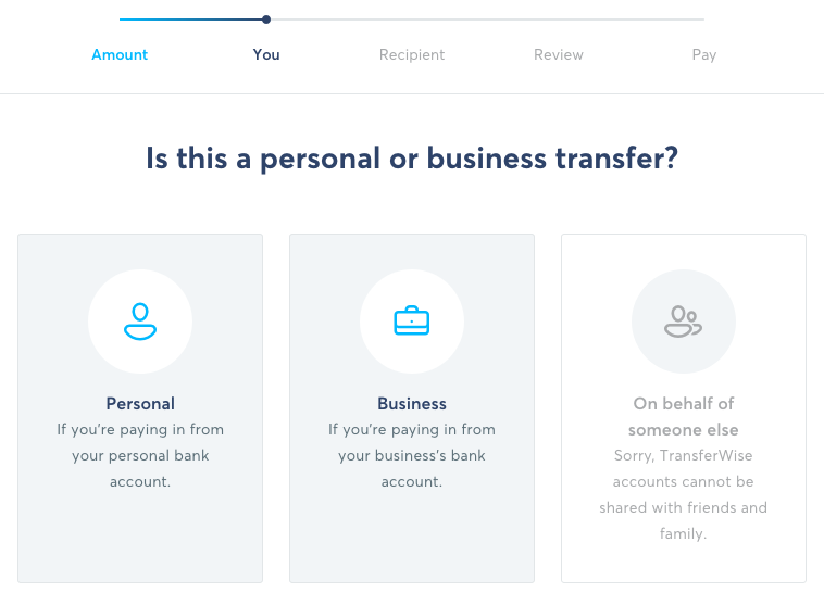 TransferWise Transfer Flow - Personal or Business Transfer