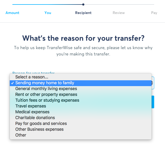 TransferWise Transfer Flow - Reasons for Transfer
