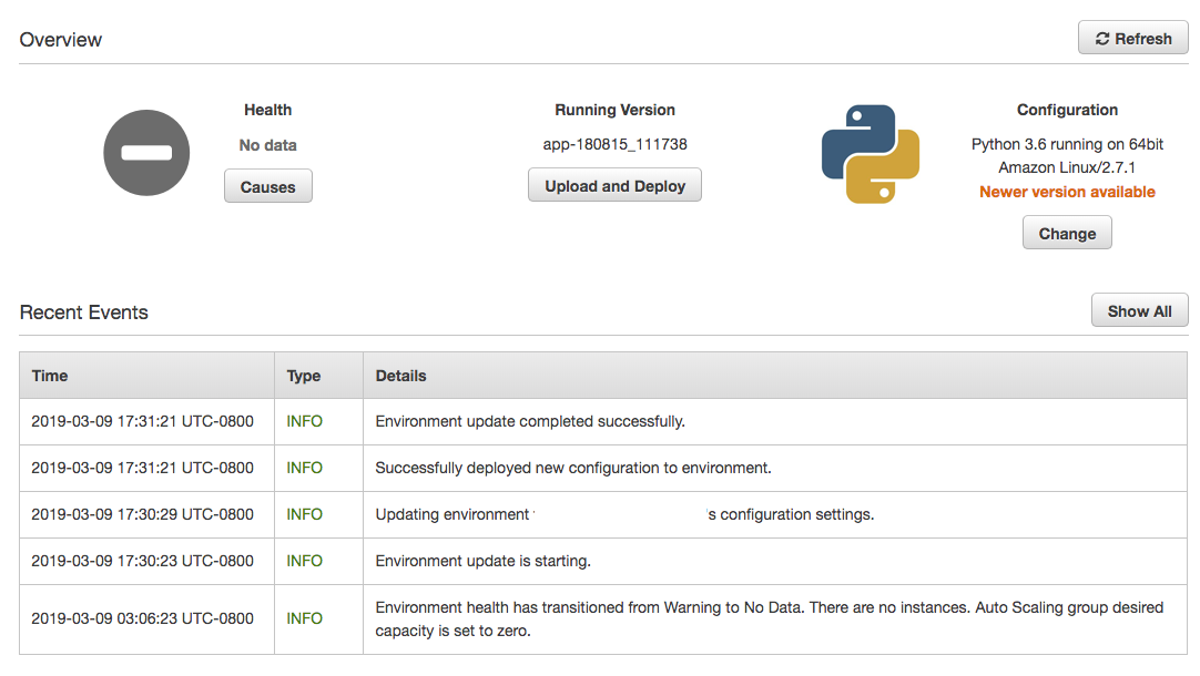 AWS Elastic Beanstalk Environment Paused State